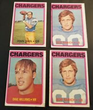 "4- 1972 NFL & TOPPS *SAN DIEGO CHARGERS* ""HADL / BABICH/ WILLIAMS"""