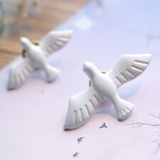 3pcs DOVE OF PEACE PIN White Enamel Metal Tie Tack Brooch Christian Holy Spirit