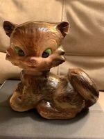 VTG Mid Century Ceramic Cat Figurine Brown Feline Porcelain With Green Eyes 1973