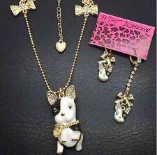 New Betsey Johnson black white crystal Bulldog dog necklace earring