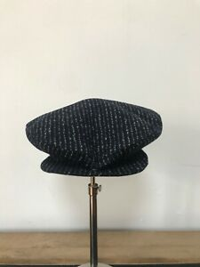 A CHILD OF THE JAGO CHEESE CUTTER HAT NAVY & WHITE CHALK STRIPE COLOUR SIZE L