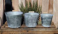 Blumentopf Übertopf Pflanzentopf Kübel 3er Set Deko Metall Zink Landhaus Shabby