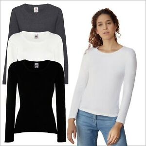 Fruit of the Loom Ladies Value Weight Long Sleeve T-Shirt Casual Soft Cotton Tee