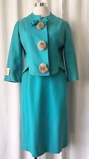 Vintage 60's Reveler Junior New Turquoise skirt suit size 7 with mink buttons