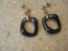 Alberto Moore Rose Gold Plated  and  Steel Grey/Black Drop Earrings,  NWT