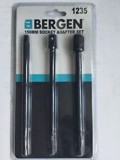 "Bergen 150 Mm X/long 3pc Socket adaptateurs 1/4 3/8 1/2"" disque 1/4"" tige hex CRV"