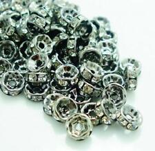 10 Pieces 8mm gunmetal rhinestone spacer beads w/ flat edges