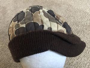 Columbia Sportswear Co Portland Ore. USA Camo Cap Hat vtg 60s 70s Insulated Knit