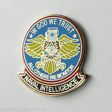 """US NAVY NAVAL INTELLIGENCE IN GOD WE TRUST OTHERS WE MONITOR LAPEL PIN BADGE 1"""""""