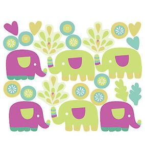 Elephants Purple Blue Wallies Baby Peel & Stick Vinyl Murals Stickers Decal