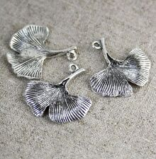 Antique Silver Charm Gingko Leaf - pack of 10
