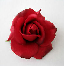 """4"""" Romantic Red Real Touch Rose,Poly Silk Flower Brooch Pin,Rockabilly.Corsage"""