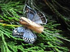 Tiny Blue Feather Butterflies - Speckled Wings - 3.0cm - Set of 2