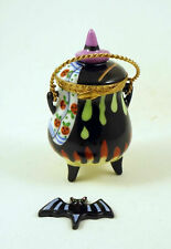 New French Limoges Trinket Box Halloween Witch 's Cauldron w Magic Potion & Hat