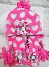 PINK WHITE HEARTS TRAPPER FLEECE HAT MITTENS SET 2 3 4 YEARS GIRLS BABY TODDLER