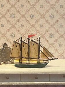 Vintage Wooden Artisan 3 Masted Sailing Vessel Handmade Dollhouse 1:12 Miniature
