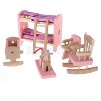 Kids Pretend Role Play Wooden Toy Dollhouse Nursery Room Miniature Furniture Set