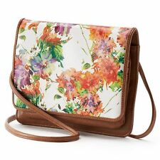 NWT Apt 9 London 800 Multi Floral Faux Leather Crossbody Handbag Purse