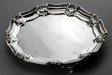 More details for 1816 benjamin smith ii george iii sterling silver salver card tray 16.2 troy oz