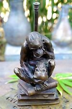 "VINTAGE 12"" Sculpture Lamp Monkey Ape with Skull on Books Darwin 1960s"