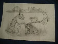 """* Tri Chem Huge 7593 Tigress And Cubs Tiger 24""""X36"""" Picture to paint Trichem"""