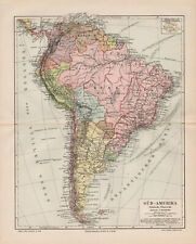 TWO!!! Antique maps. SOUTH AMERICA. POLITICAL & PHYSICAL MAPS. c 1905