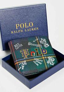 Polo Ralph Lauren Mens Bifold Wallet Preppy Polo Tartan With GIFT BOX