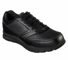 Wide Fit Skechers Shoes Safe Memory Work Black Mens Slip Resistant Leather 77156