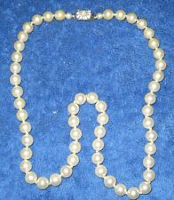 "Vintage 24"" String of Fake Eggshell 3/8"" Pearls Metal Box Clasp with Rhinestones"