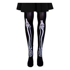 Black Skeleton Bone Scary Halloween Fancy Dress Grim Reaper Costume Tights