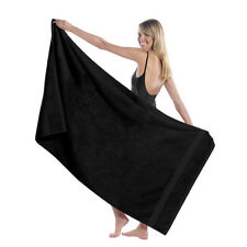 "TowelSoft King Size Dobby Hem LoopTerry Beach Towel, 100% Cotton-35""Wx65""L-BLACK"