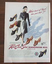 Original Magazine Print Ad Red Cross Shoe Demonstration Week 1942 WWII Fashion