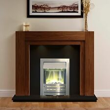 """ELECTRIC WALNUT SURROUND SILVER BLACK WALL FIRE FIREPLACE SUITE LIGHTS LARGE 54"""""""