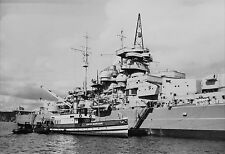 WWII B&W Photo German Kriegsmarine Battleship Bismarck World War Two WW2  / 7088