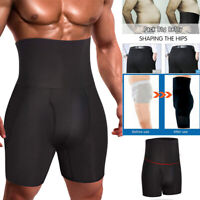 Mens Compression High Waist Boxer Shorts Tummy Slimming Body Shaper Girdle Pants
