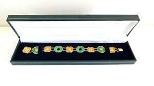 Vintage c.1920 20ct YELLOW GOLD & APPLE JADE Chinese Bracelet - 14.1g