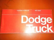 1970 DODGE 400-1000 TRUCK FACTORY OWNERS MANUAL OPERATORS GLOVE BOX BOOK