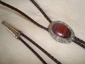 """Silver BOLO TIE Oval Brown Stripe Stone Silver Design Frame 36"""" L Brown Cord"""
