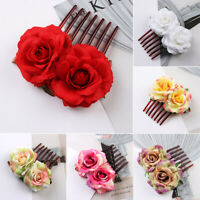 New Women Flower Hair Comb Slide Clips Pins Wedding Bridal Hair Accessories