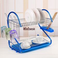 Home Kitchen 2Tier Stainless Steel Blue Dish Rack Drainer Drying Rack Space Save