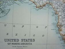 1910 MAP ~ UNITED STATES OF NORTH AMERICA SOUTH EASTERN SHEET FLORIDA ALABAMBA