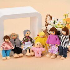 7× Holzpuppe Spielzeug Cartoon Familie Puppen für Kinder Spiel Haus Geschenk Neu