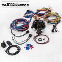 Universal 21 Circuit Wiring Kit Harness Street Hot rod  Lighter 17 Fuses Wiper