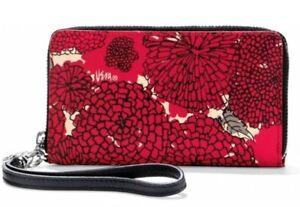 NWT Brighton Vera Mums Tech Wallet Wristlet Red White Black Floral MSRP $125