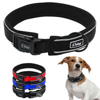 Nylon Reflective Dog Collars Soft Neoprene Padded for Small Large Dogs S M L XL