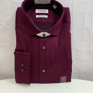 Calvin Klein Mens NWT Infinite Non-Iron Slim Tall Stretch Collar Dress Shirt XL
