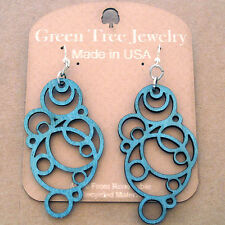 BUBBLE laser-cut wood earrings Green Tree Jewelry TEAL geometric circles 1126