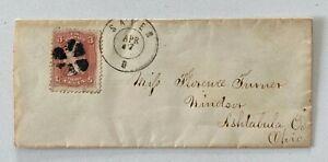 JH Cochrane Collection 1860s 3c Fancy Cancel Salem to Windsor Ashtabula Co Ohio