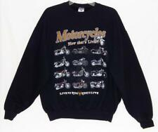 "MOTORCYCLES ""Now That's Living"" Graphic Print Crewneck Sweatshirt Men's Large"