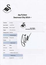 Jay Fulton Swansea City 2014-original hand signed Coupe/Carte